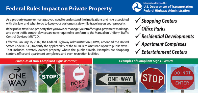 Federal Rules for Traffic Signs on Private Property