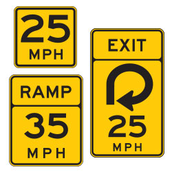 <strong>W13 Series</strong> Speed Advisory Warning Signs