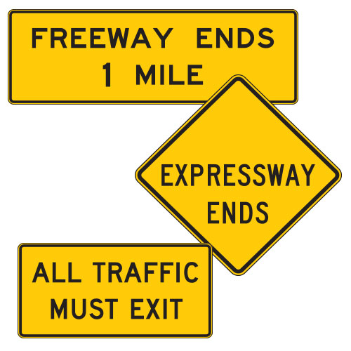 <strong>W19 Series</strong> Freeway or Expressway Ends Warning Signs
