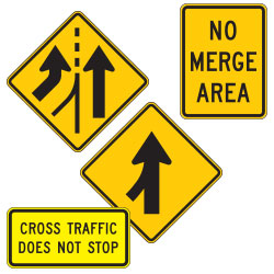 <strong>W4 Series</strong> Traffic Merge Warning Signs