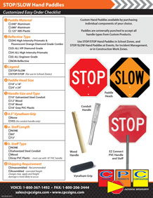 STOP SLOW Hand Paddle Easy Order Cheklist
