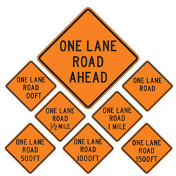 One Lane Road | Work Zone Signs (Choose Distance)