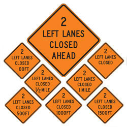 2 Left Lanes Closed | Work Zone Signs (Choose Distance)