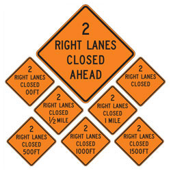 2 Right Lanes Closed | Work Zone Signs (Choose Distance)