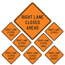 Right Lane Closed | Work Zone Signs (Choose Distance)