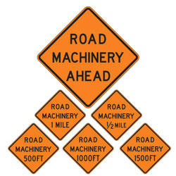 Road Machinery | Work Zone Signs (Choose Distance)