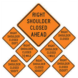 Right Shoulder Closed | Work Zone Signs (Choose Distances)
