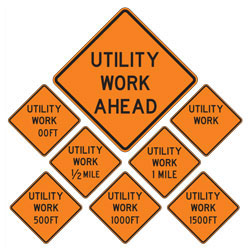 Utility Work | Work Zone Signs (Choose Distance)