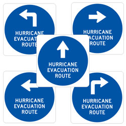 Hurricane Evacuation Route with Arrow Signs
