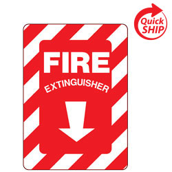 Fire Extinguisher with Down Arrow Symbol Facility Sign