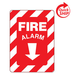 Fire Alarm with Down Arrow Symbol Facility Sign