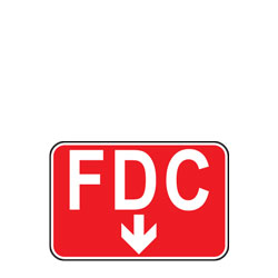 FDC with Down Arrow (Fire Department Connection) Sign