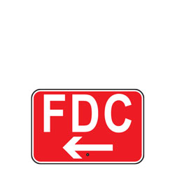 FDC with Left Arrow (Fire Department Connection) Sign