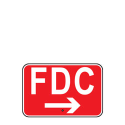 FDC with Right Arrow (Fire Department Connection) Sign