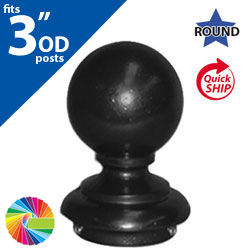 "Semi Gloss Powder Painted FINB3 Ball Cap for 3"" OD Round Post"