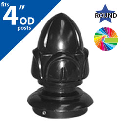 "Semi Gloss Powder Painted Acorn Cap for 4"" OD Round Post"