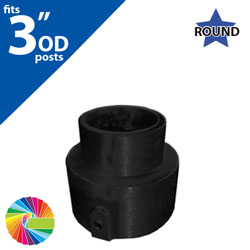 "Semi Gloss Powder Painted Sign Bracket Adapter Cap for 3"" OD Round Post to 2 3/8"" OD Sign Bracket or Cap"