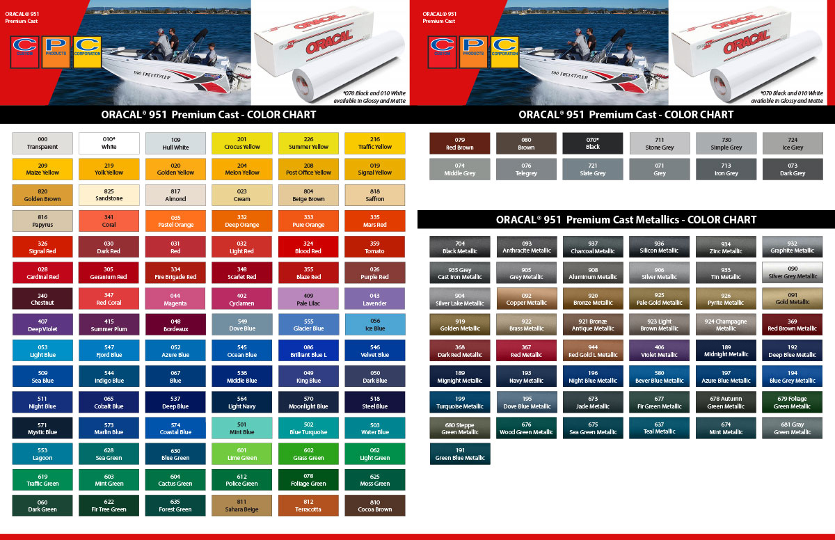 Oracal 951 Color Chart