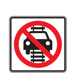 No Motor Vehicles on Tracks (Symbol) Signs