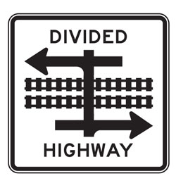 Light Rail Divided Highway Crossing (Symbol) Signs