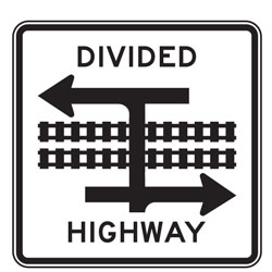 Light Rail Divided Highway T Intersection (Symbol) Signs