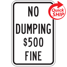 No Dumping $$$ Fine Traffic Sign