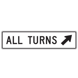 All Turns with Right Diagonal Up Arrow Sign