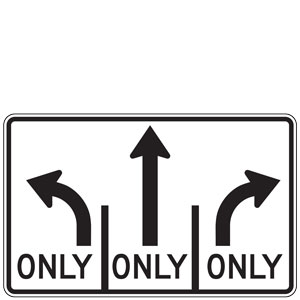 Advance Intersection Lane Control (Left, Ahead, Right) Sign