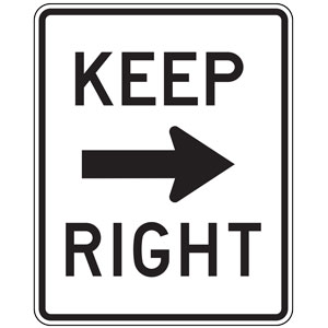 Keep Right with Arrow Sign