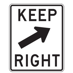 Keep Right with Diagonal Up Arrow Sign