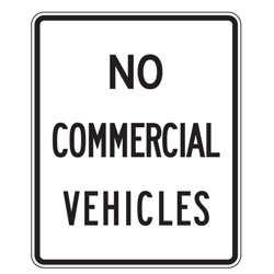 No Commercial Vehicles Sign
