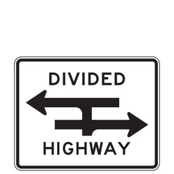 Divided Highway T Intersection (Symbol) Signs