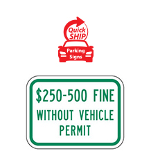 (Texas State Spec) $250 to 500 Fine without Vehicle Permit Supplemental Plaque