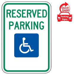 Reserved Parking (Handicap Symbol) Sign