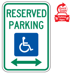 Reserved Parking (Handicap Symbol) with Double Arrow Sign