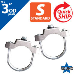 "Silver U Bolt Clamps (Set of 2) for 3"" OD Round Post"