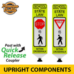 In Street (School) Pedestrian Crosswalk Sign on Quick Release Mounting Style Post