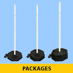 "Portable Rubber Base with Double Wheel Assembly, 60"" Power Post & Hardware Package"