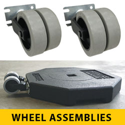 Double Wheel Assembly for Portable Rubber Base