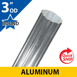 "Silver 3"" OD Round Fluted Aluminum Posts"