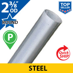 "Silver 2 3/8"" OD Round Smooth Steel Posts"