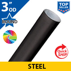 Semi Gloss Powder Painted 3 OD Round Smooth Steel Posts