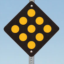 Type 1 Object Markers: Black with Yellow Reflective Circles