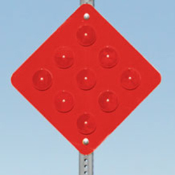Type 4 (End of Roadway) Object Markers: Red Reflective with Red Plastic Reflectors