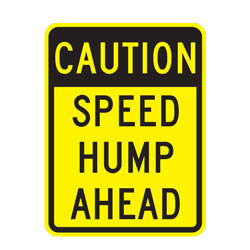 Caution Speed Hump Ahead Warning Sign