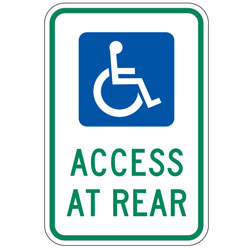Handicap Access at Rear Sign