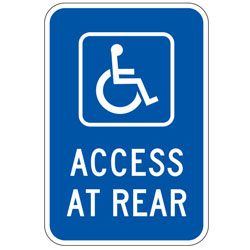 Handicap Access at Rear (Blue) Sign