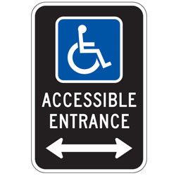 Oxford Series: Handicap (Symbol) Accessible Entrance with Double Arrow Sign