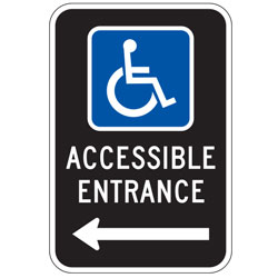Oxford Series:  Handicap (Symbol) Accessible Entrance with Left Arrow Sign