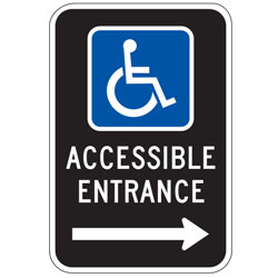 Oxford Series:  Handicap (Symbol) Accessible Entrance with Right Arrow Sign